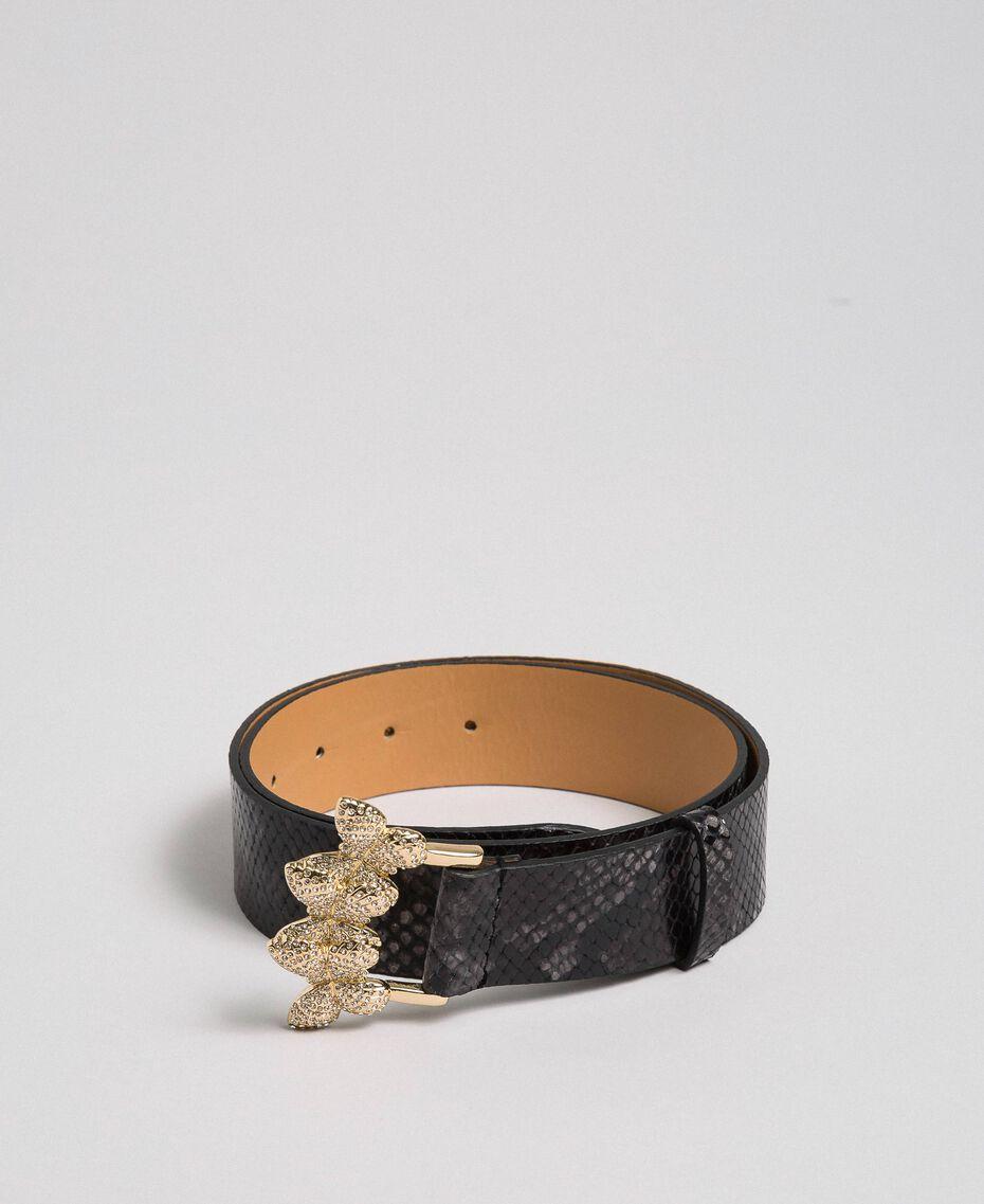 "Python print leather belt, regular ""Anthracite"" Grey Python Print Woman 192TA4308-02"