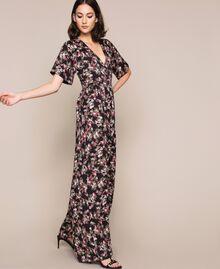 Крепдешиновый комбинезон с цветочным рисунком Принт Цветочный Черный женщина 201MP2372-02