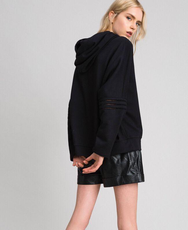 Butterfly embroidery sweatshirt Black Woman 192TT2133-03