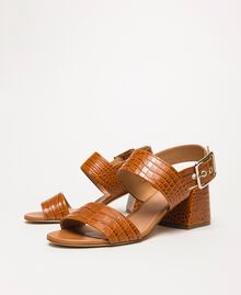 Leather sandals with croc print Crocodile Leather Print Woman 201TCT014-02