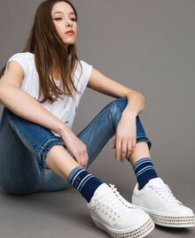 Blend cotton socks with jacquard logo Deep Blue Multicolour Striping Woman 191TA434C-0S