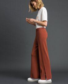 Pantalon palazzo en maille Marron «Chicness» Femme 192LI3NFF-03