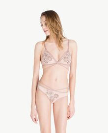 """Embroidered thong Two-tone """"Soft Lime"""" Yellow / """"Peach Powder"""" Pink Woman LS8F88-02"""