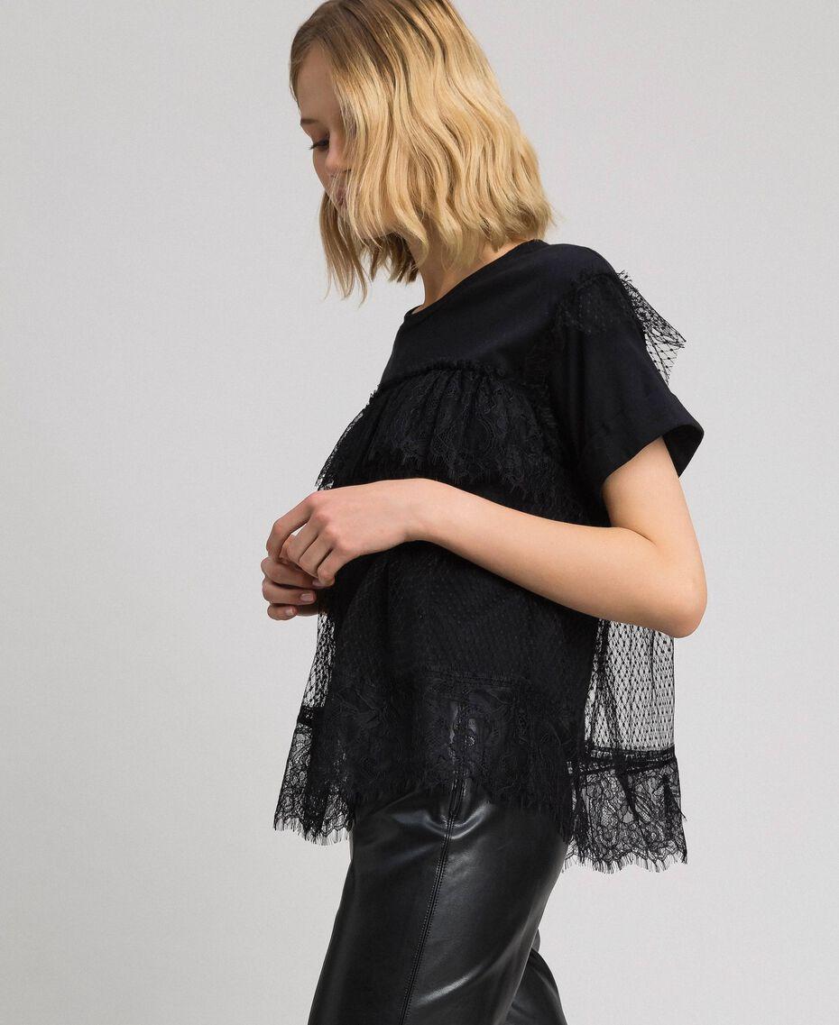 Valenciennes lace flounce blouse Black Woman 192TP2330-02