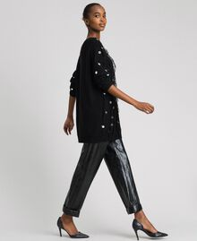 Maxi pull en laine et mohair avec sequins Noir Femme 192ST3020-02