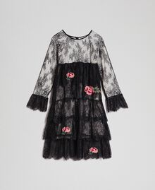 Chantilly lace dress with embroidered roses Two-tone Black / Pale Cream Child 192GJ2670-0S