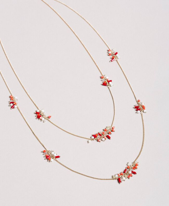 "Multi-string necklace with beads Multicolour ""Lipstick Red"" Woman 191TO5342-01"