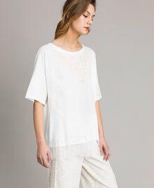 Maxi-T-Shirt mit Spitze Zweifarbig Cremefarben / Ecru Frau 191ST2083-02