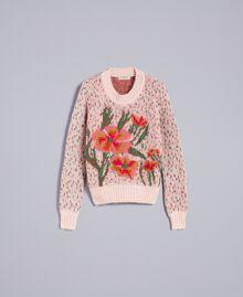 "Pullover in Jacquardverarbeitung mit Blumen und Tupfen Jacquard ""Blumen"" Blassrosa Frau TA83CC-0S"