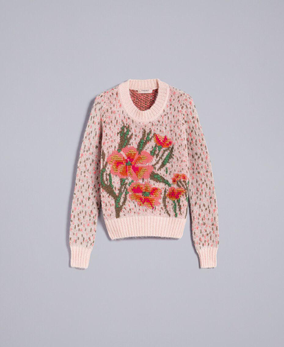 Pull jacquard floral et pois Jacquard Fleurs Rose Pâle Femme TA83CC-0S