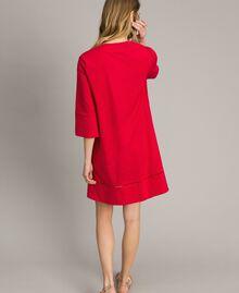 """Popeline-Kleid mit Stickerei """"Lipstick Red"""" Rot Frau 191TT2242-03"""