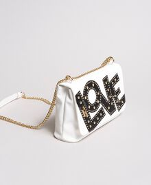 Faux leather shoulder bag with patch White Cream Woman 191MA7071-02