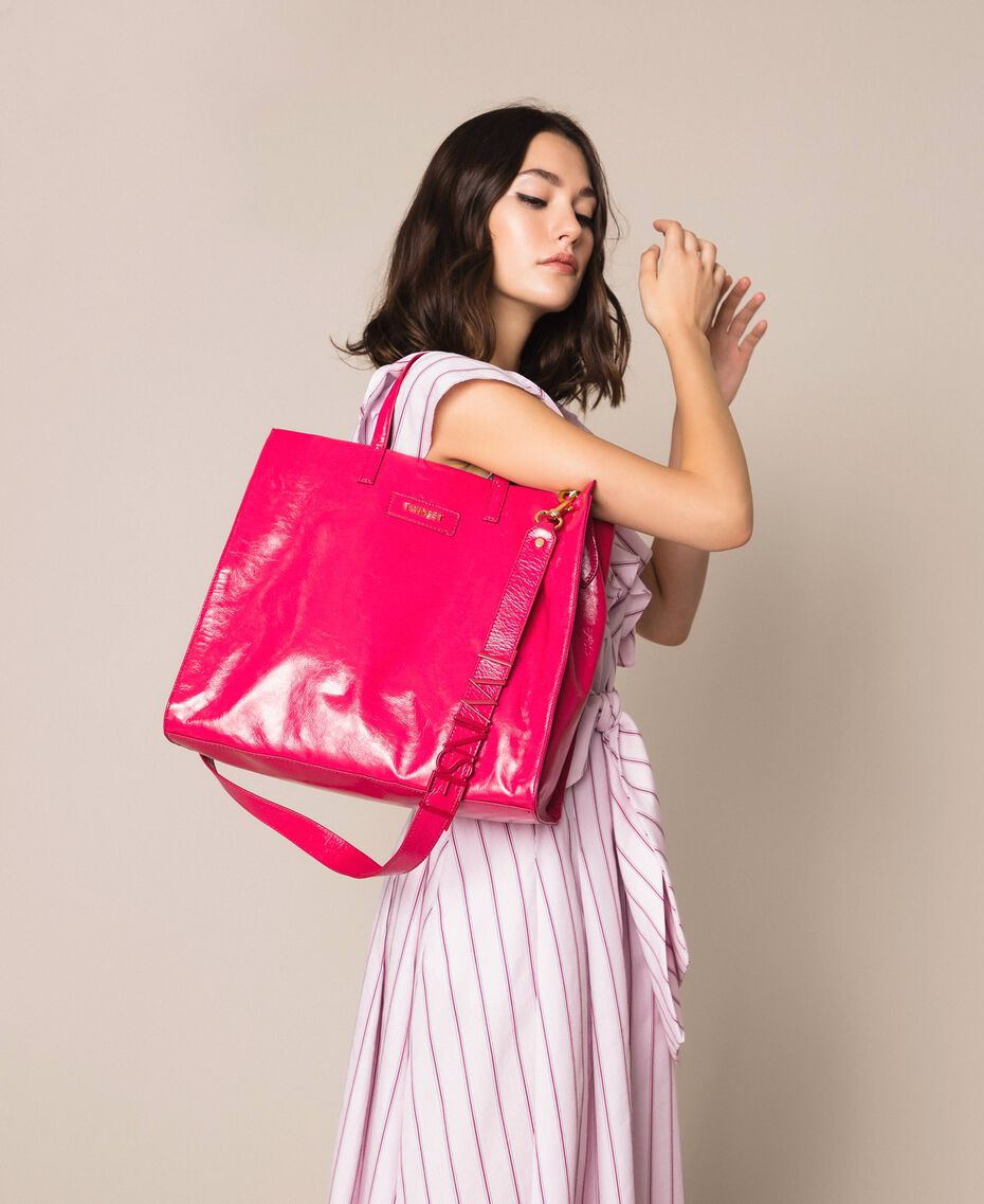 "Large leather shopper with logo ""Jazz"" Pink Woman 201TO8090-0S"