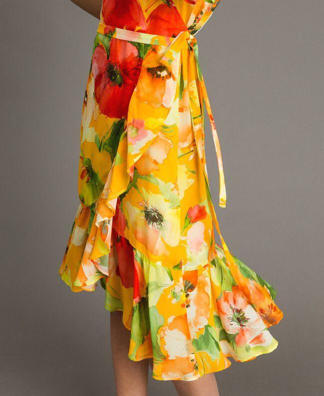 Georgette-Kleid mit Blumenmuster Motiv Gelbe Macro Blumen Frau 191TT2482-04
