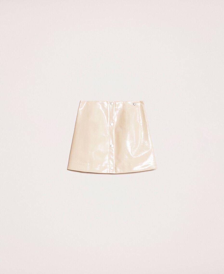 Glossy faux leather mini skirt Vanilla White Woman 201MP2240-0S