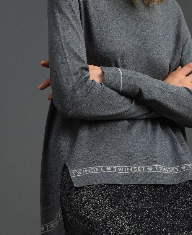 Maglia in seta e cashmere con logo Grigio Mélange Donna 192TP3151-04