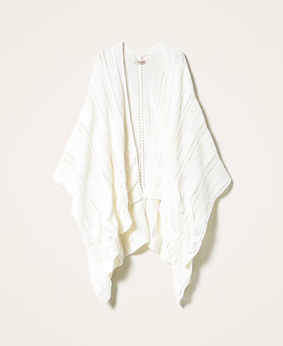 Poncho in maglia con mix di punti Bianco Panna Donna 202TA440M-0S