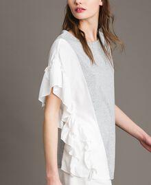 T-Shirt aus Seidenmischung mit Rüschen Grau Melange Frau 191TP2262-03