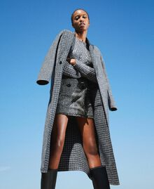 Double wool cloth reversible coat Black / Snow White Check Design Woman 202TP205C-06