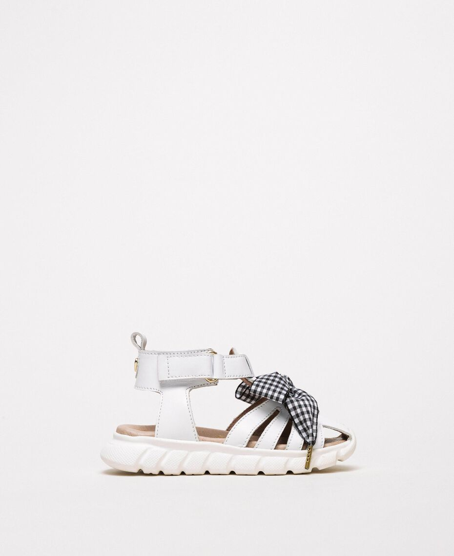 Leather sandals with gingham bow White Child 201GCB140-02