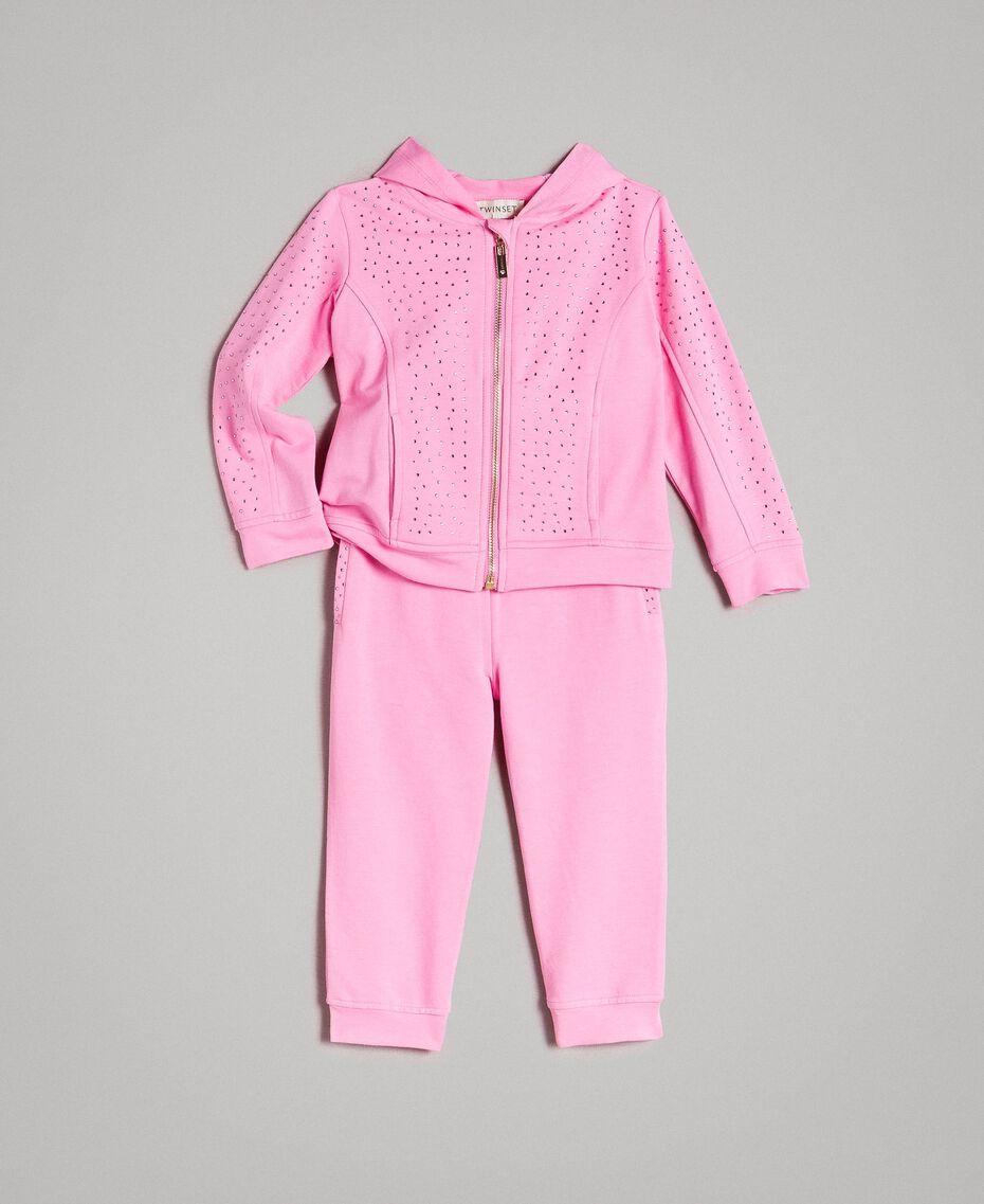 "Stretch-Trainingsanzug aus Baumwolle mit Strass ""Crystal Pink"" Kind 191GB2461-01"