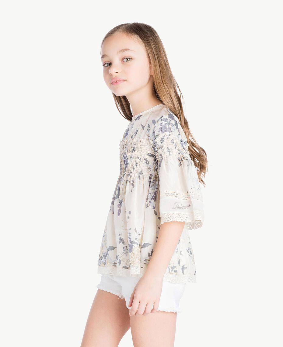 Bluse mit Blumenprint Blumenprint / Helles Rauchgrau Kind GS82E3-03