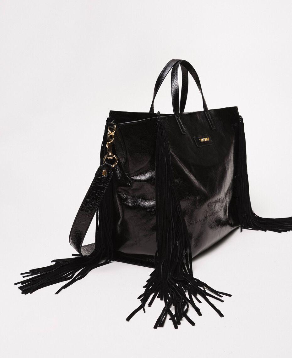 Большая кожаная сумка-шоппер с бахромой Бежевый Нуга женщина 201TO8140-02