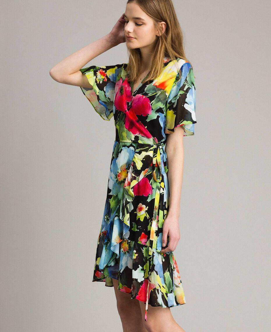Georgette-Kleid mit Blumenmuster Motiv Schwarze Macro Blumen Frau 191TT2482-03