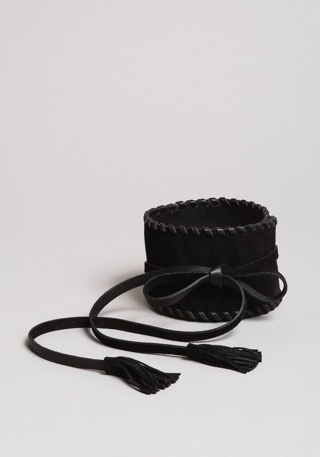 Suede-effect leather sash