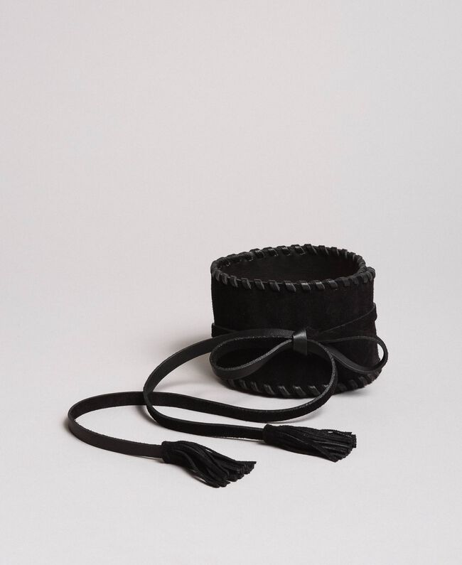 Suede-effect leather sash Black Woman 191TO5333-01