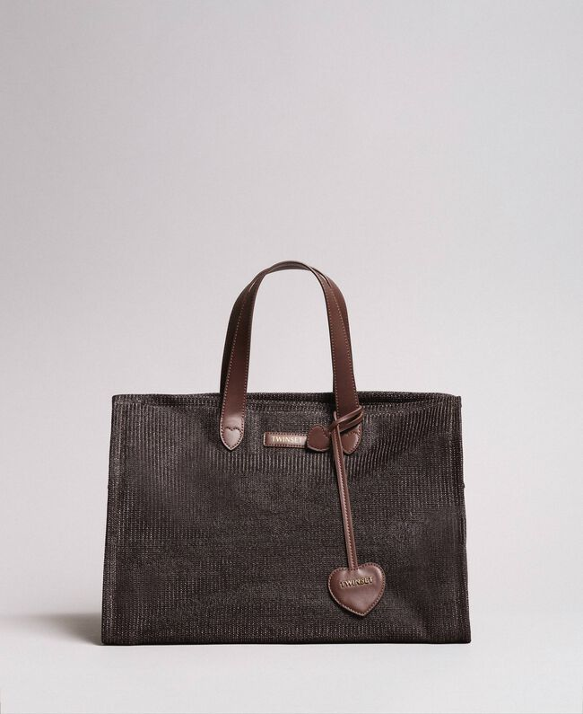 Oversized straw-effect shopping bag Dark Brown Woman 191LM4ZCC-03