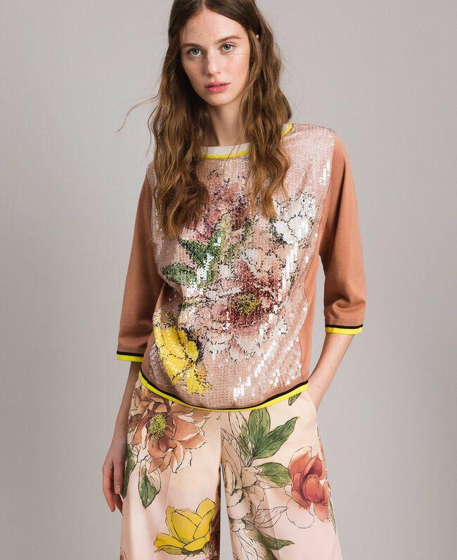 "Sequin jumper with contrasting trims Multicolour ""Desert Rose"" Beige / ""Shell"" Beige Flowers Print Woman 191MT3110-01"