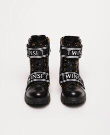 Кожаные ботинки-амфибии с логотипом Черный женщина 201TCP132-04