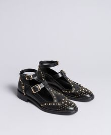 Cut-out leather shoes with studs Black Woman CA8PEU-01