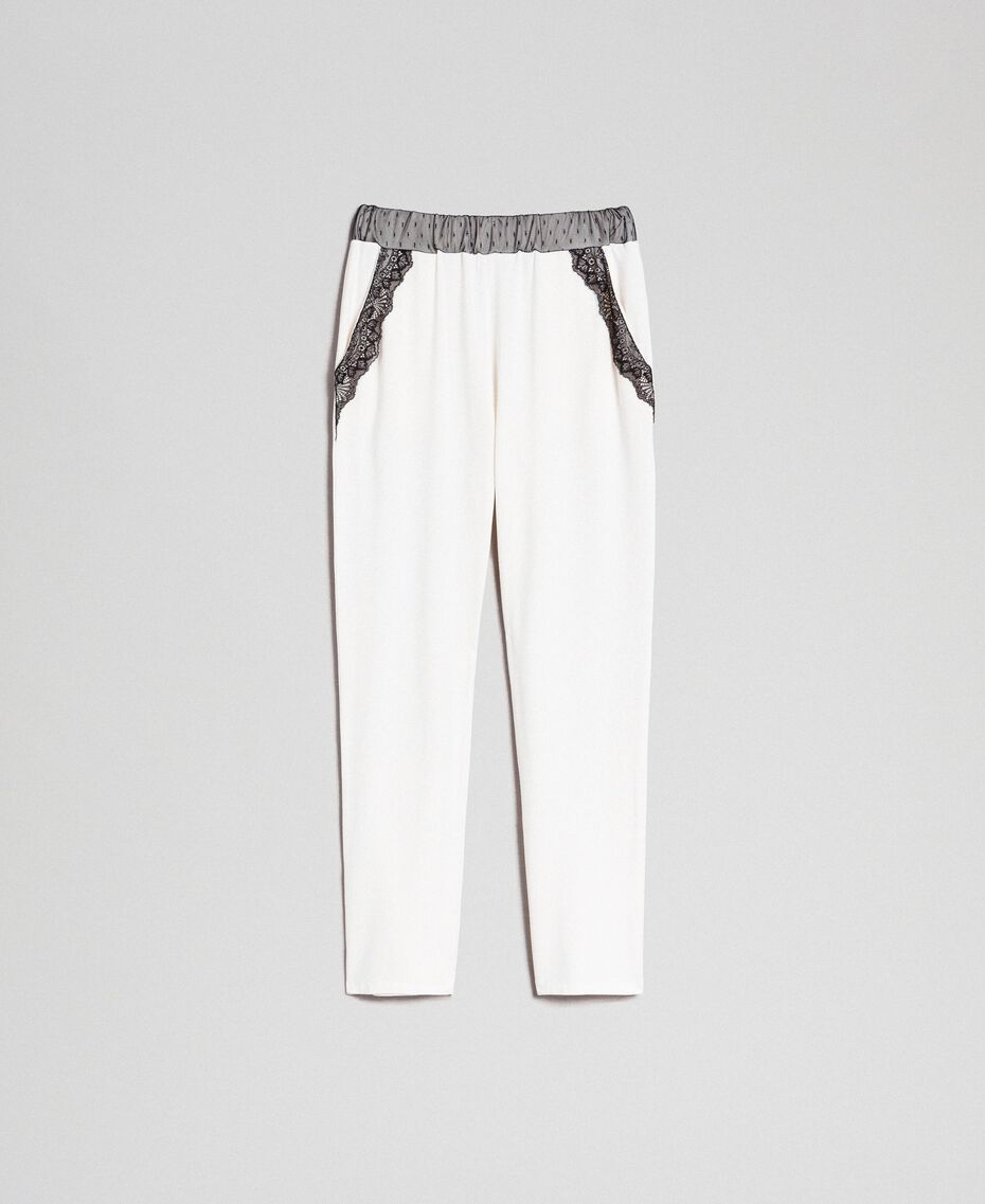 Pantaloni con tulle e pizzo Avorio Donna 192LL2CDD-0S