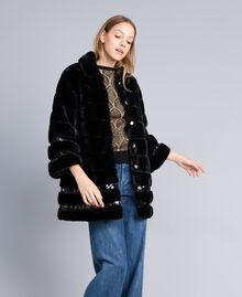 Faux fur sequin coat Black Woman PA82KB-0T