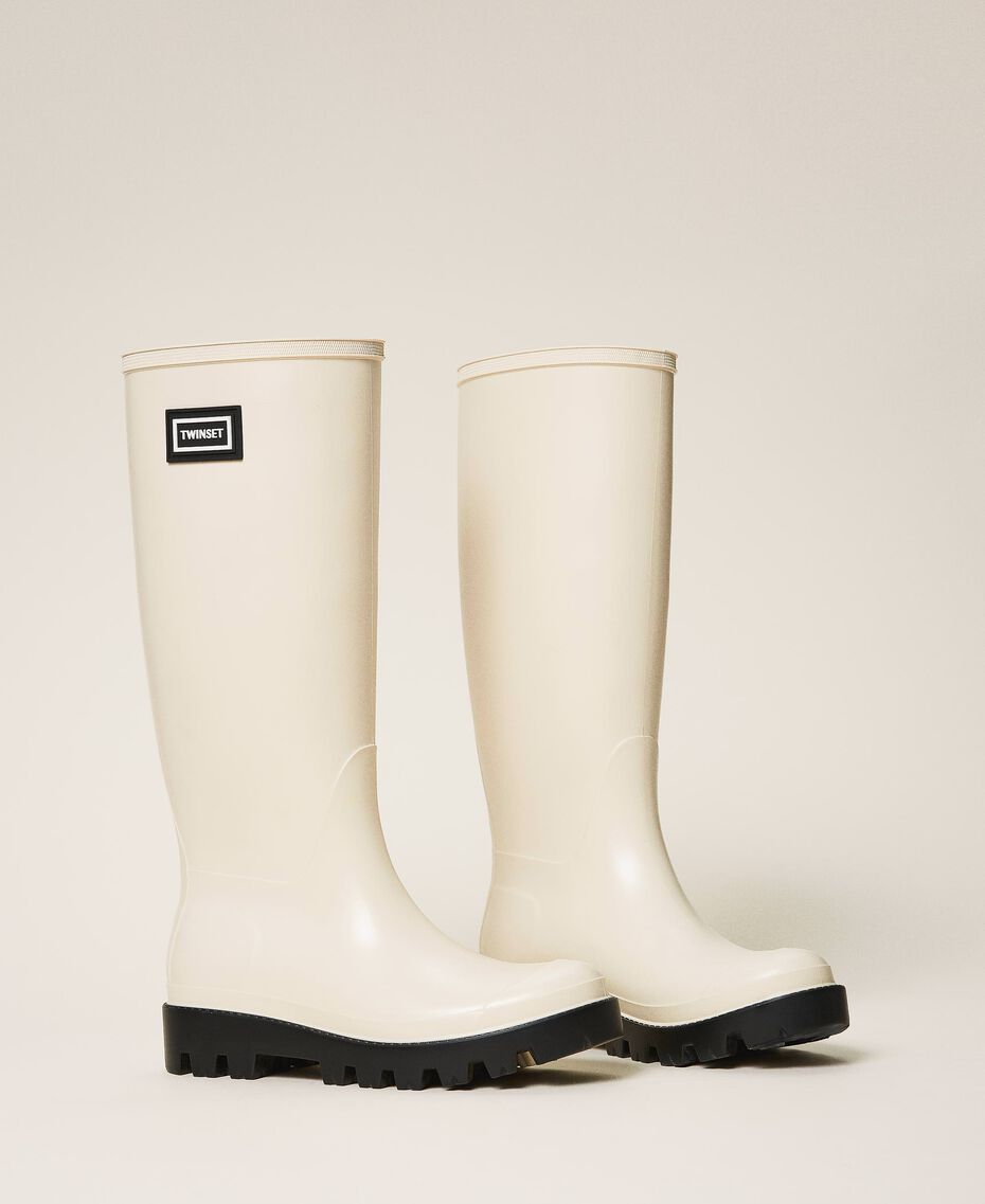 Rain boots with logo Creamy White Woman 202TCP210-01