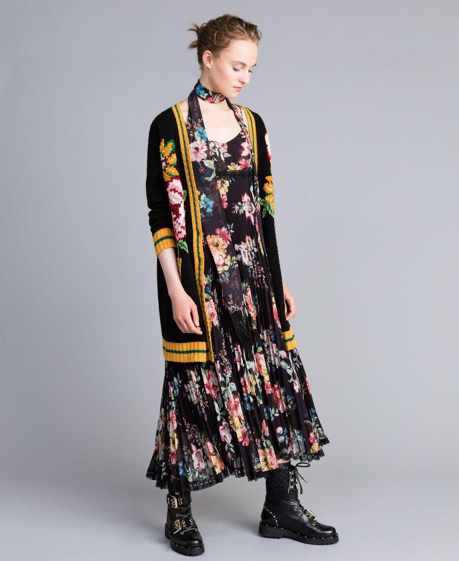 Maxi wool blend cardigan Black Woman PA83HN-0T