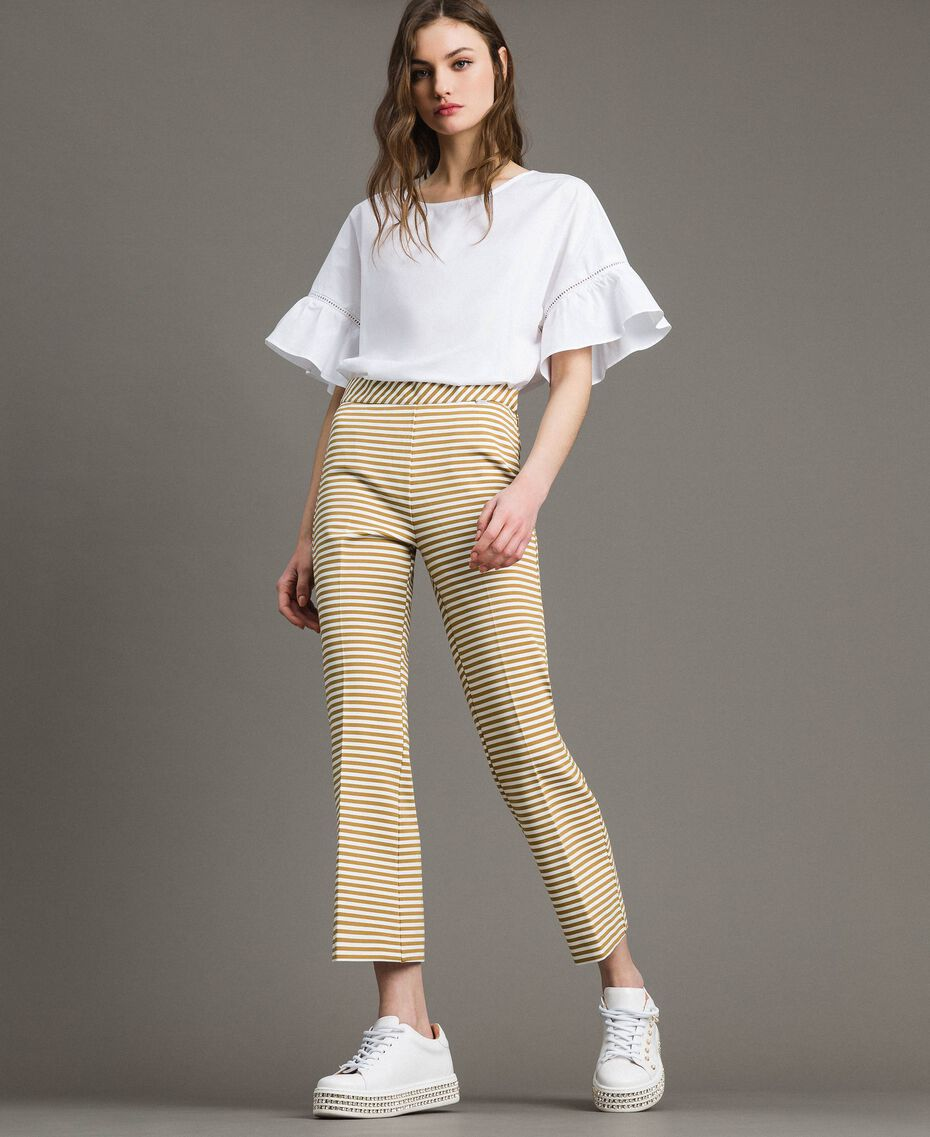 Two-tone striped wide leg trousers Blue Shadow / Off White Striping Woman 191ST2035-01