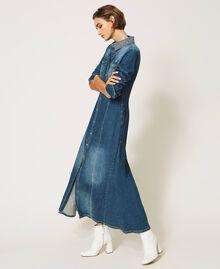 "Long denim dress with studs ""Mid Denim"" Blue Woman 202MP2470-02"