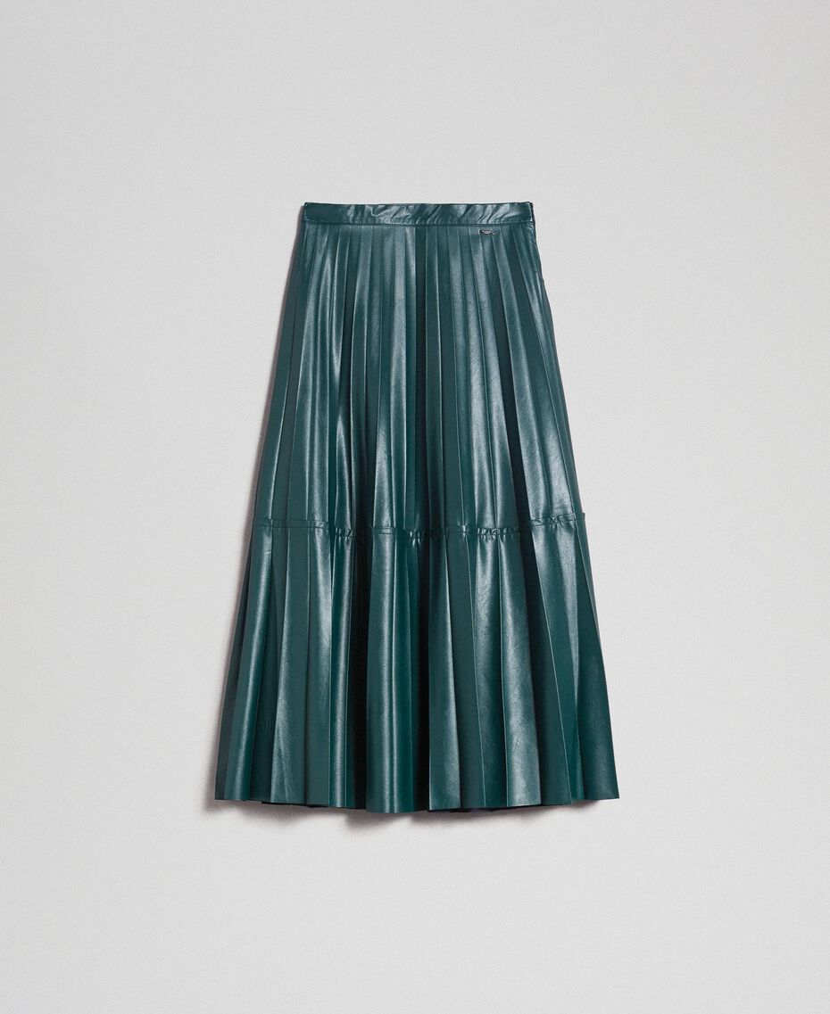 """Faux leather pleated midi skirt """"Forest"""" Green Woman 192ST2015-0S"""