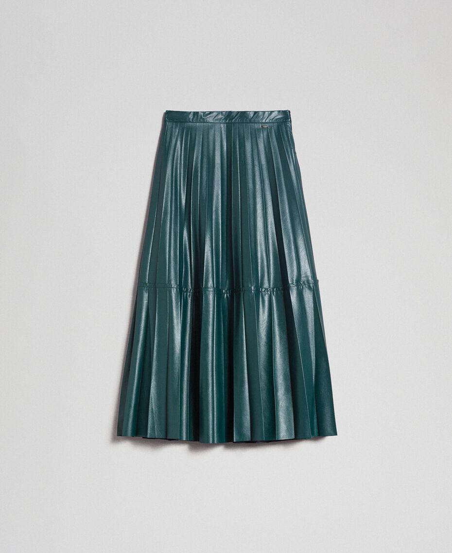 Jupe mi-longue en similicuir plissé Vert «Forêt» Femme 192ST2015-0S