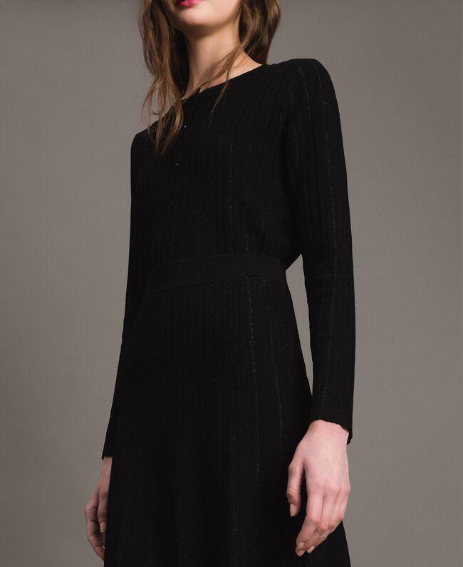 Jupe mi-longue ornée de bandes en lurex Noir Femme 191TP3253-04