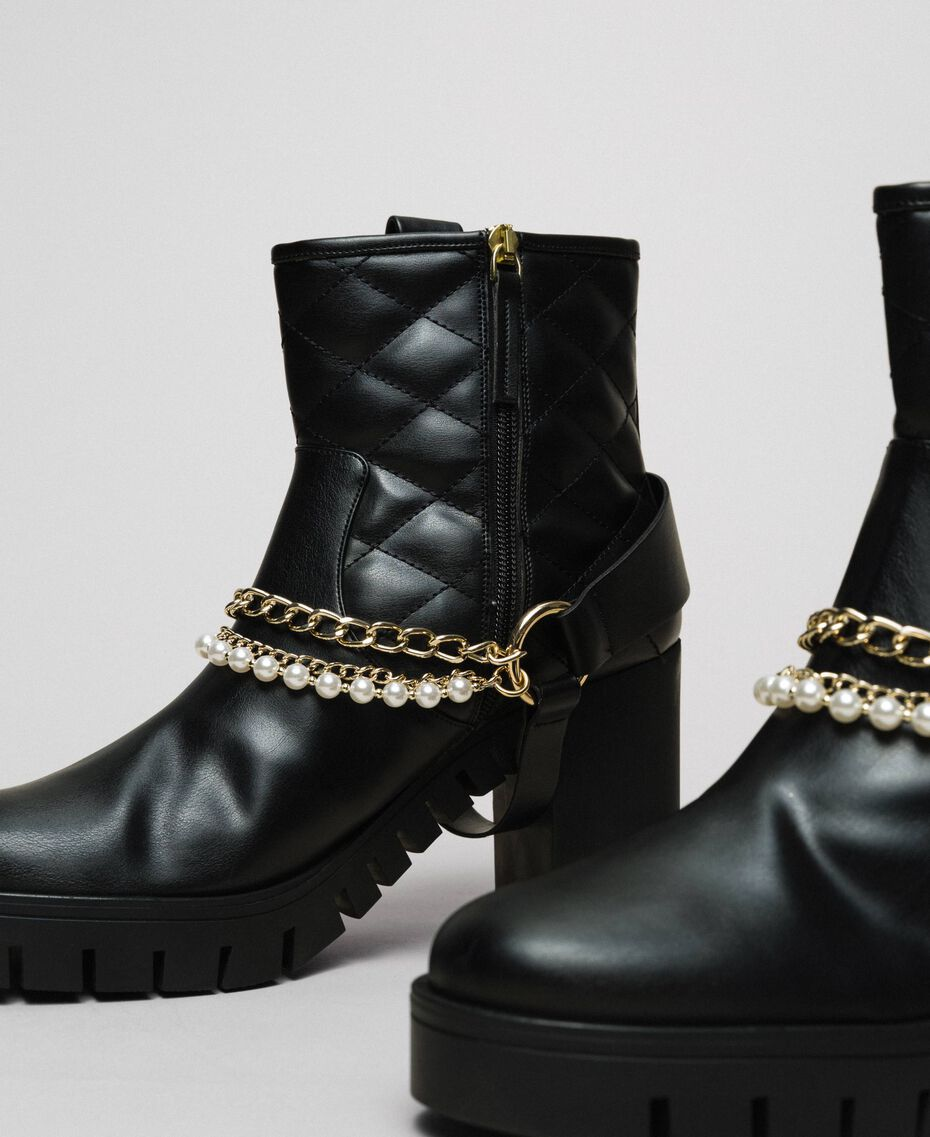 Biker boots with straps, chain and pearls Black Woman 192MCP050-02