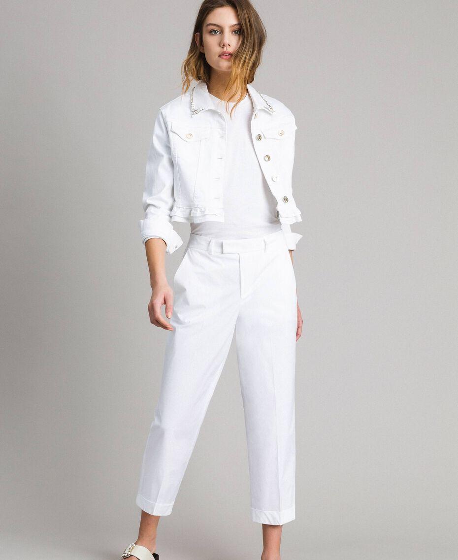 Poplin trousers White Woman 191TT2232-02