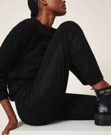 Pantalon de jogging en maille avec dentelle Noir Femme 202TP3384-05