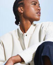Бомбер из искусственной кожи с вязаными рукавами Бело-кремовый женщина 202MP2520-04