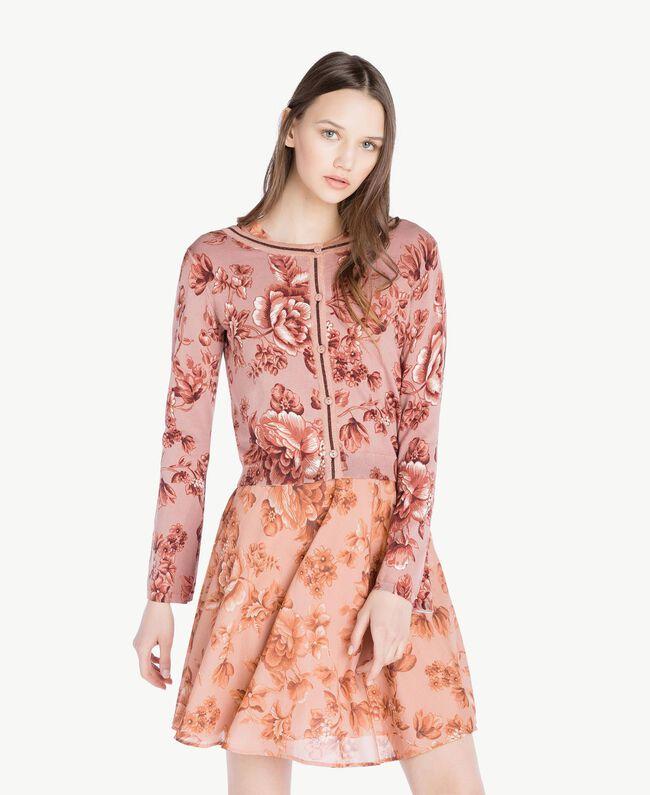 Cardigan-Pullover mit Print Porzellanprint Antikrosa Frau SS83HP-01