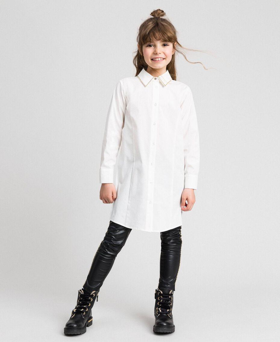 Maxi camicia in popeline con strass Bianco Bambina 192GJ2210-01
