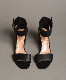 Leather sandals with rhinestones butterfly Black Woman 191TCT010-03